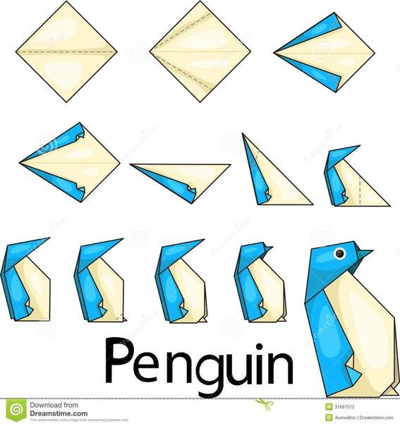 Пингвины из бумаги своими руками схемы