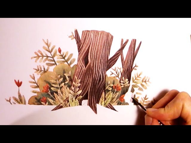 Nature Watercolor Illustration - testing and experimenting with my Masking fluid Pen by Iraville