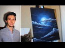 How to paint a Stars, a Moon, and Clouds in a night sky. A basic speed painting tutorial