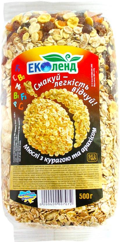 Мюслі з курагою та арахісом, Еколенд, 500 г
