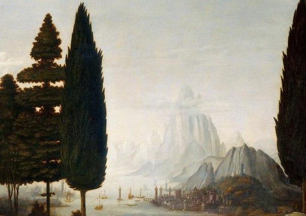 """Леонардо да Винчи """"Благовещение - пейзаж"""", 1472"""