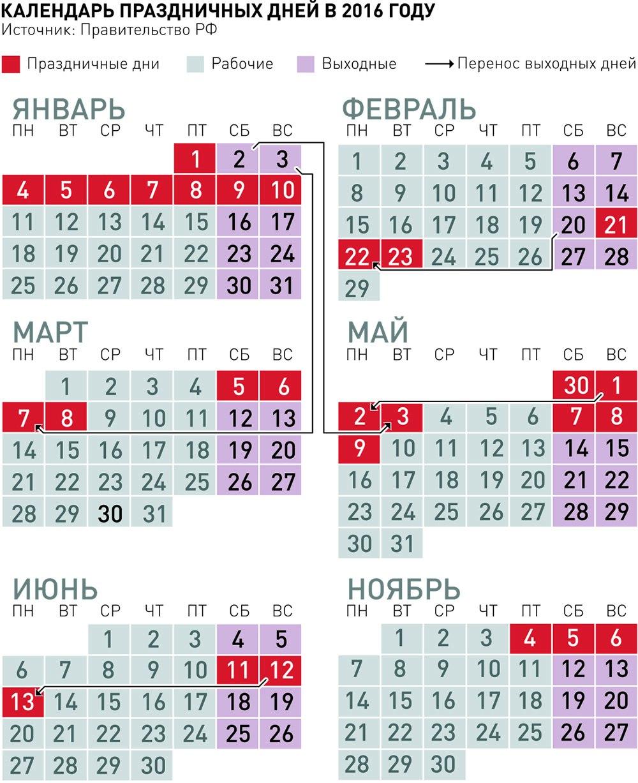 Календарь выходных в 2016