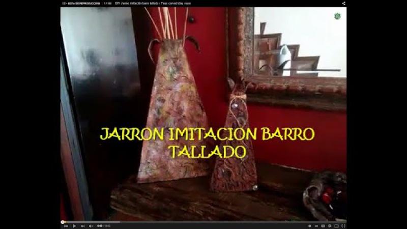 DIY Jarrón imitación barro tallado / Faux carved clay vase