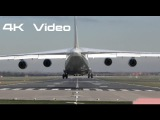 Monster cargo plane Noisy & Hard Landing Antonov An-124 Ruslan at Doncaster Airport England 4K Video