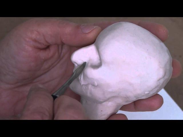 How to sculpt a doll head Sculpting the nose Как слепить голову куклы Лепим нос
