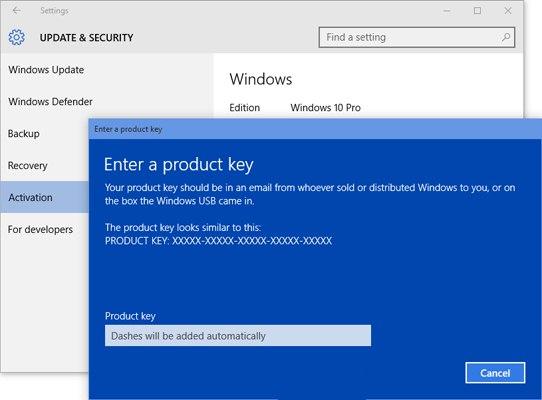Для ручной активации Windows 10 можно будет использовать ключ от Windows 7, 8 или 8.1