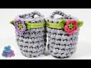 Como hacer Cestas Organizadoras de Trapillo FACIL diy Crochet XXL Ganchillo Totora Pintura Facil