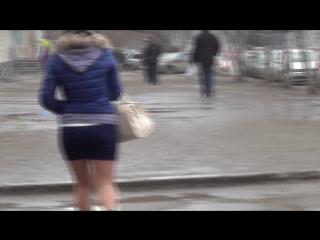 Девушка в синей-короткой юбке !!! SEXY Girls in mini-skirt !!! Part One