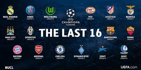 Участники 1/8 финала Лиги Чемпионов
