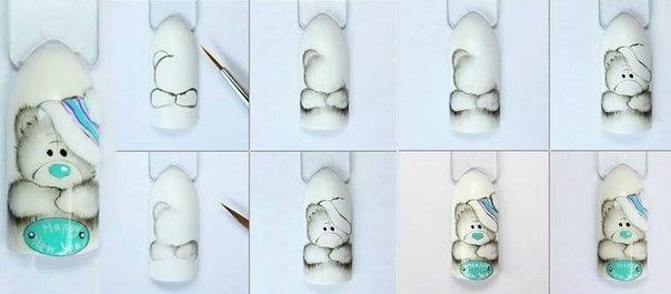 Мишки тедди ногти