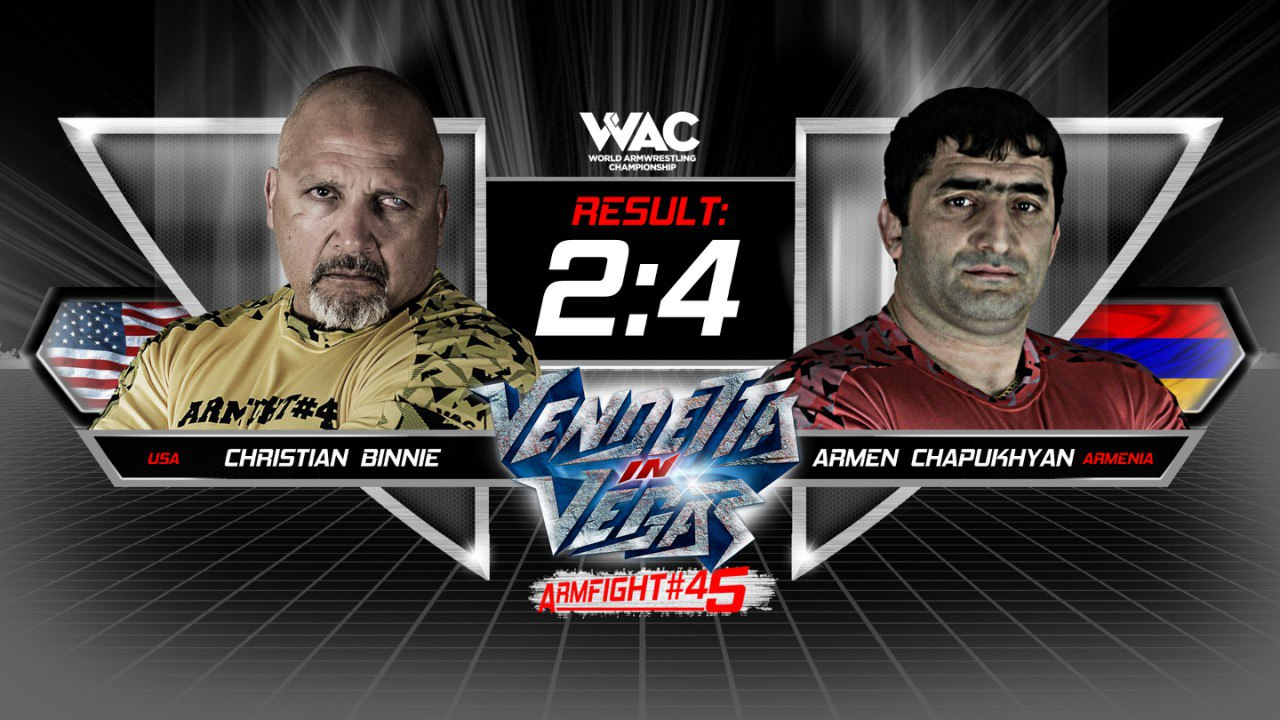 Christian Binnie vs. Armen Chapukhyan, Armfight 45 Vendetta in Vegas, 26 February 2016 │ Image Source: ARMWRESTLING / Армрестлинг / Армспорт главная