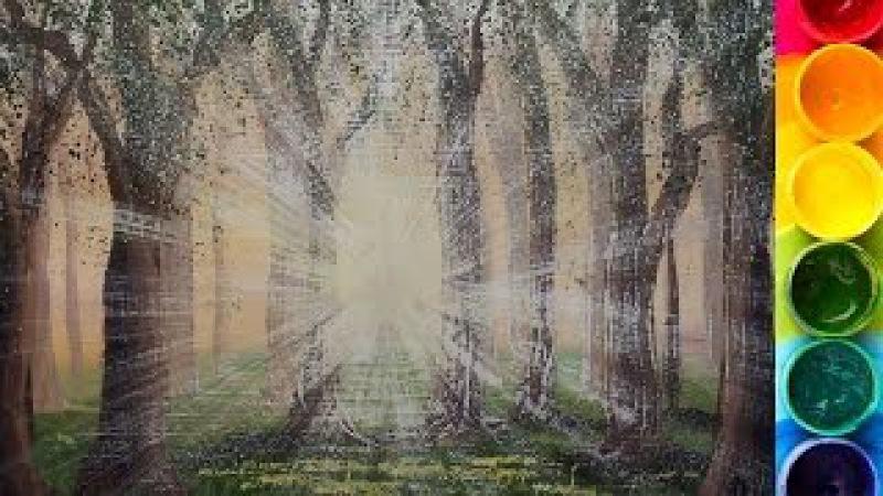 Как нарисовать ЯРКОЕ СОЛНЦЕ в лесу гуашью