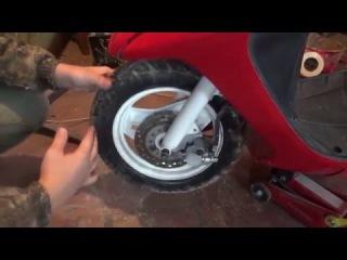 замена колодок на скутере honda dio