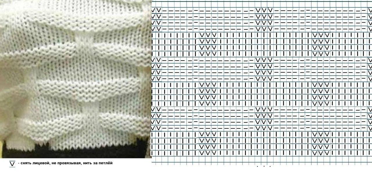 Простой объемный узор для вязания на спицах