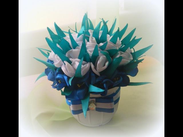 Горшочек канзаши из крокусов и тюльпанов/Kanzashi pot of crocuses and tulips