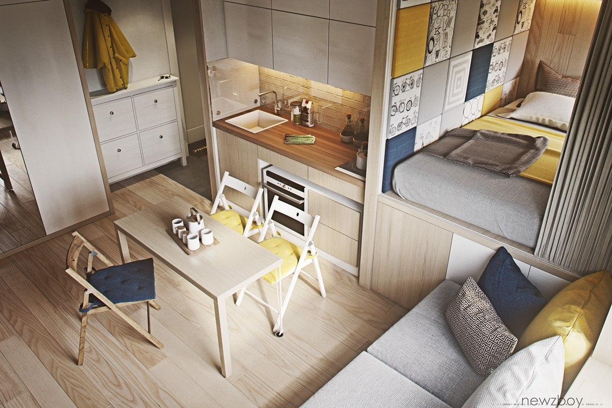 Концепт небольшой квартиры без точного метража.