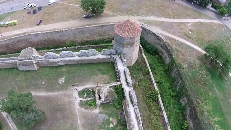 Akkerman fortress in Belgorod Dnestrovskiy. Sky video HD. Фортеця в Білгород Дні_HIGH