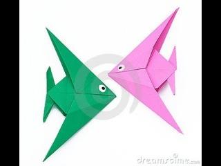 Рыба  оригами, origami fish. КАК сделать Рыбу из бумаги.