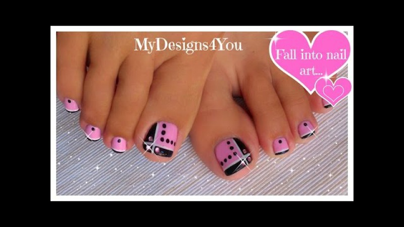 Toenail Art Design | Pink and Black Toes ♥ Diseño de Uñas de Pies
