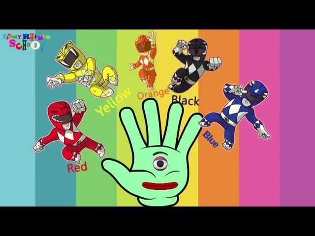 Learn colors with cartoon power finger family nursey rhymes song
