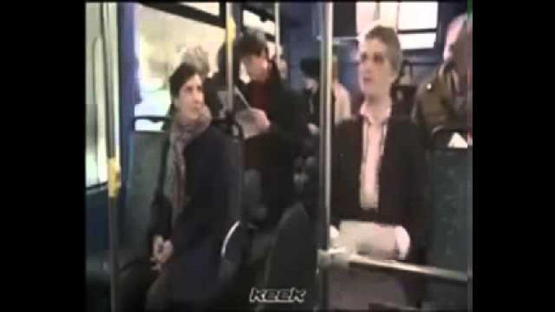 Ok. Jealous woman attacks hair brusher on the bus.
