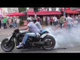 3 Crazy Harley Davidson V-Rods Sportster - BURNOUTS AND LOUD SOUNDS!