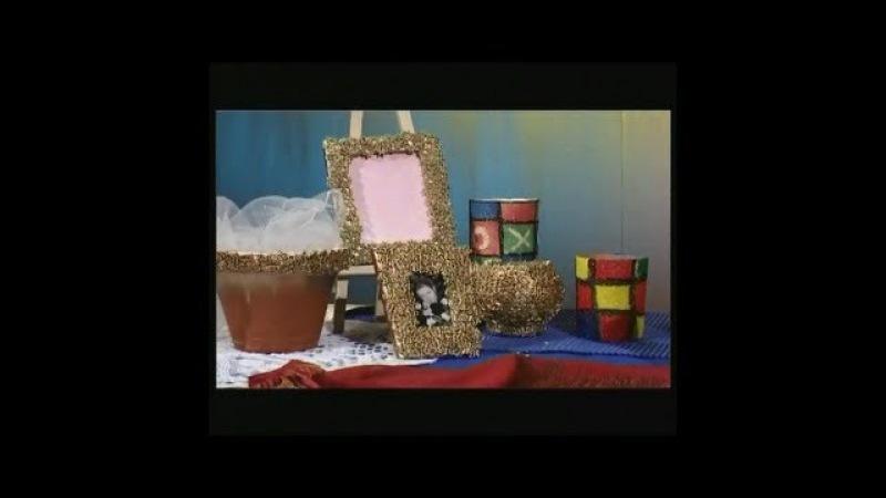 Рамка для фотографии из макарон и вазочка из манки. Мастер класс. Наташа Фохтина