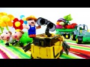 Видео для детей: Робот ВАЛЛИ и Фермер. Роботы Игрушки! Wall E