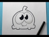How to Draw Om Nom Cute from Cut The Rope - Easy Drawing Tutorial