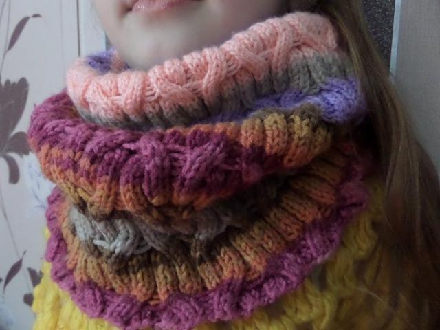 Шарф-труба, снуд вязаный спицами. Вязание на зиму объемного шарфа. Knitting(Hobby)
