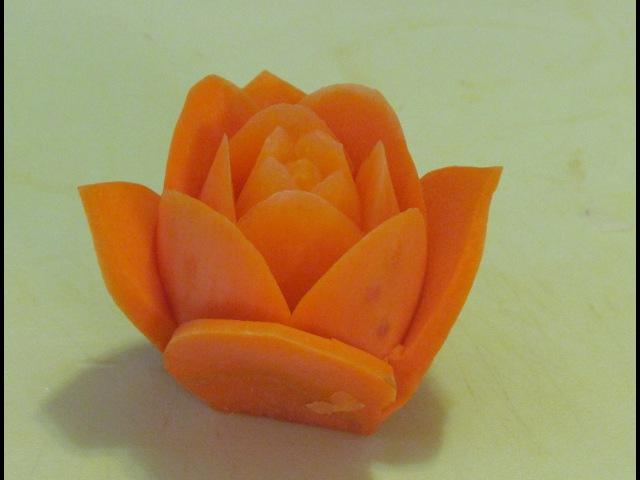 Cách tỉa hoa từ cà rốt-Carving Rose-Karot- 從蔬菜雕刻花-Rose schnitzen aus karoten