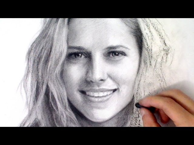 Portrait from photo - Teresa Palmer Charcoal Portrait art time-lapse video Art Drawing Video