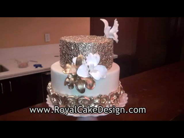 How to decorate a cake with gold sequins by Royal Cake Design