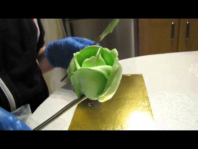 Розы с белково-заварного крема большой насадкой.