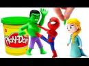 Халк Человек паук и Эльза Дисней Стоп Моушен Супергерои видео