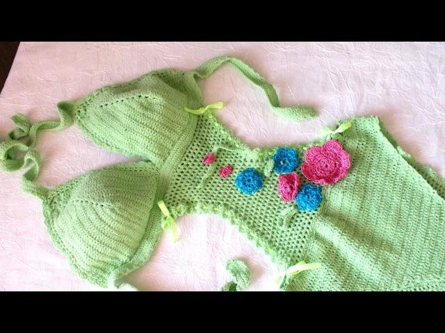 Связать купальник крючком how to crochet bikini swimsuit tutorial Maiô Body de Crochê
