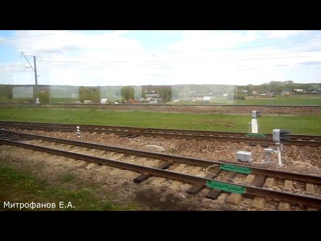 Отправление со ст. Узуново. Видео из окна эл.-поезда ЭМ2-025 (ТЧ-31).