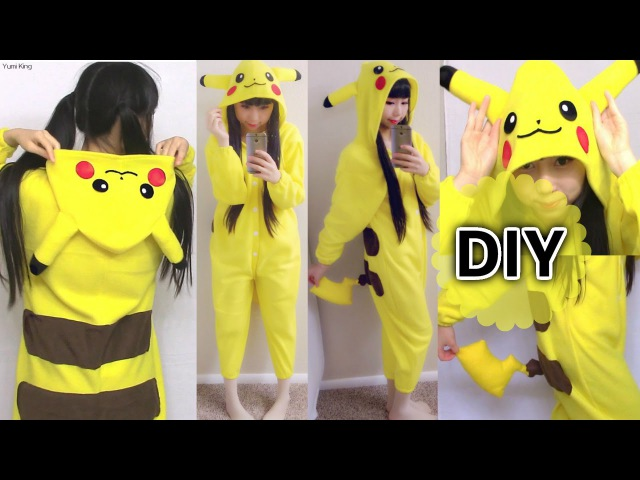 DIY Easy Onesie/ Kigurumi / Costume Pikachu Onesie How to Make Pattern from Existing Clothes