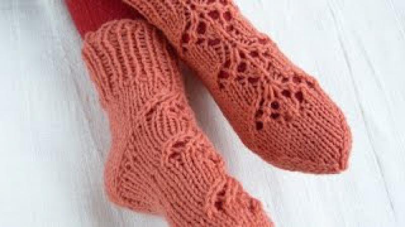 Вязание носков на 5 спицах для начинающих с ажурным узором / How to knit fishnet socks
