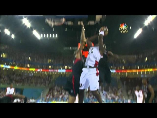 Lebron James nastiest block ever (2008 Beijing Olympics)