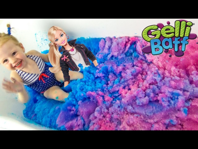 Барби и желейная ванная Gelli Baff Розовая и синяя ванна с желе кукла Барби купается с Настей в желе