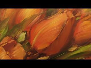 Красные тюльпаны. Научиться писать маслом в Москве, уроки рисования Олега Буйко....