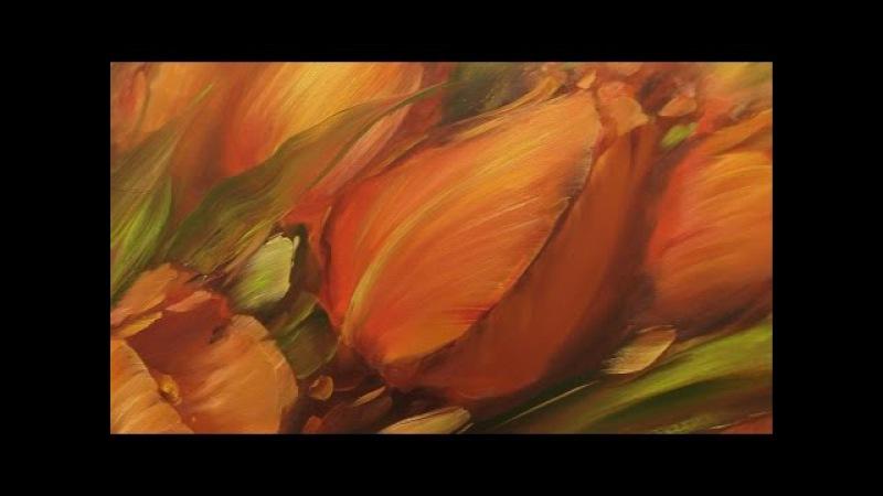 Красные тюльпаны. Научиться писать маслом в Москве, уроки рисования Олега Буйко . » Freewka.com - Смотреть онлайн в хорощем качестве