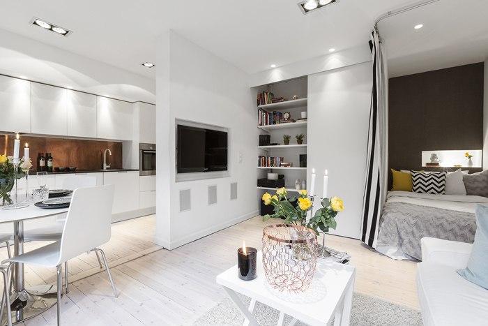 Интерьер квадратной квартиры-студии 33 м.
