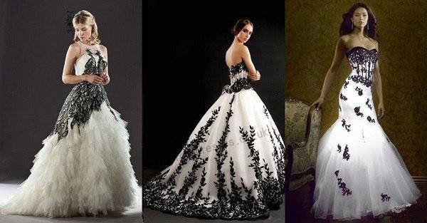 Платье с черным кружевом свадебное