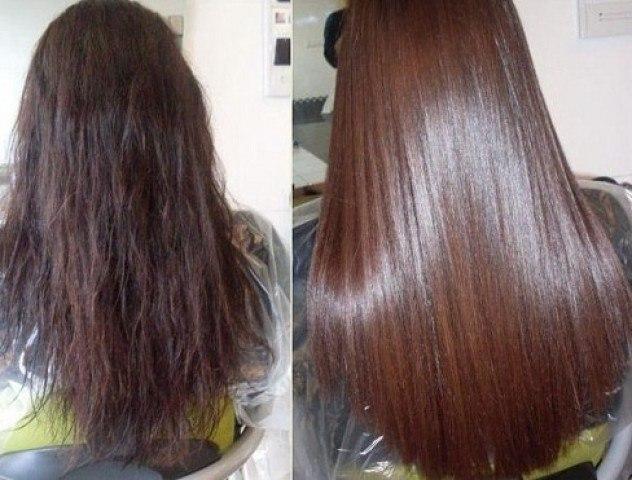 фото волос после кератинового выпрямления