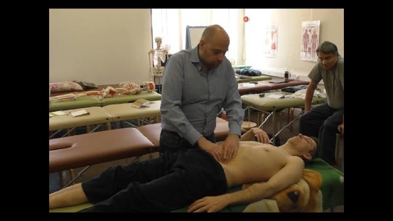 Висцеральная остеопатия внутренних органов брюшной полости - ч.1 - большой маневр и техника цилиндра