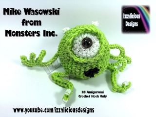 Rainbow Loom 3D Mike Wasowski (Monsters Inc) Figure/Doll Amigurumi/Loomigurumi ` Hook Only/Loom-less