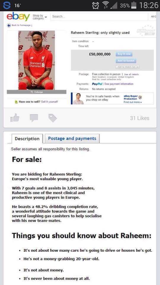 Болельщик Ливерпуля выставил Стерлинга на Ebay - изображение 1