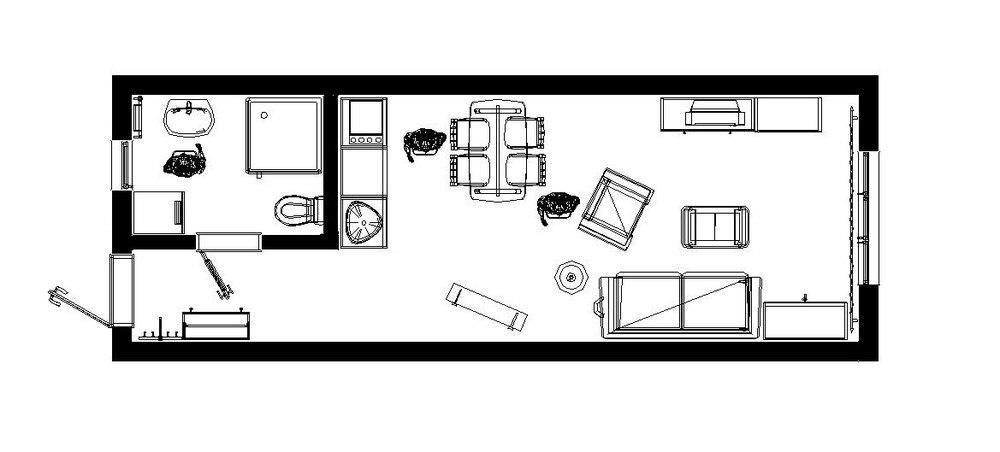 Концепт небольшой студии 26,5 м для отдыха.